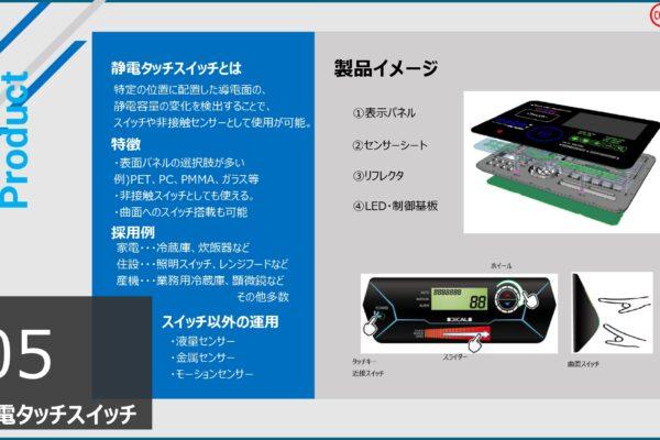静電スイッチの参考例です。印刷式は薄く、軽く、透過性があることが大きな特徴です。